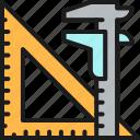 color, engineering, industry, ruler, split, tool, triangular