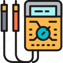 ammeter, ampere, color, digital, engineering, meter, multimeter icon