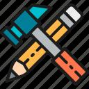 color, engineer, engineering, hammer, pencil, tool, working