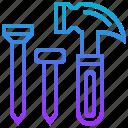 device, hammer, iron, nail, tools icon