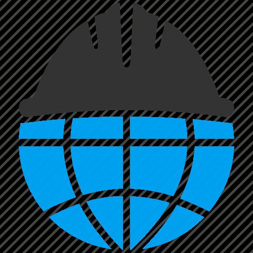 business, development, engineering, equipment, globe, solution, technology icon