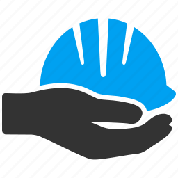 business, hand, helmet, industrial, industry, safety, service icon
