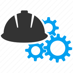 construction, gears, helmet, machinery, settings, tools, work icon