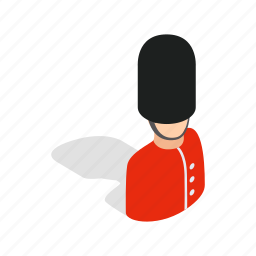 england, guard, guardsman, isometric, london, royal, soldier icon
