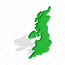 britain, england, great, illustration, isometric, map, united icon