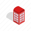 booth, figures, isometric, red, sound, telephone, tube icon