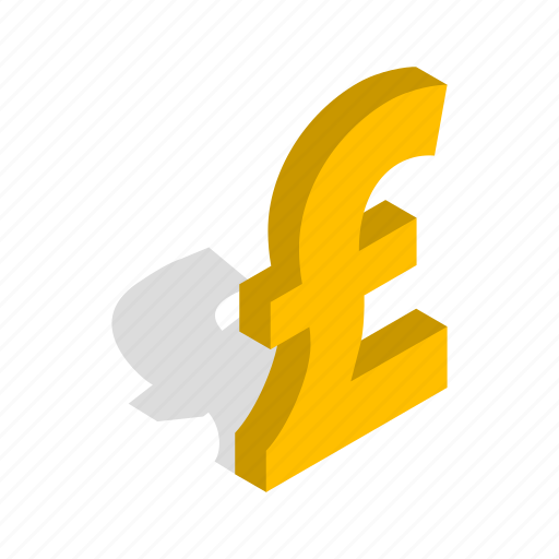 banking, cash, currency, illustration, isometric, pound, sterling icon