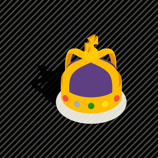 crown, decoration, element, english, isometric, luxury, monarchs icon