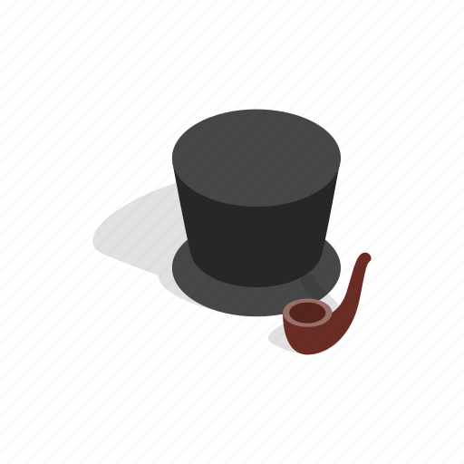 classic, clothes, gentleman, hat, isometric, pipe, smoking icon