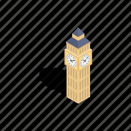 ben, big, clock, england, isometric, london, tower icon