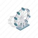 amusement, entertainment, ferris, fun, isometric, park, wheel icon