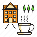castle, chill, cup, garden, out icon