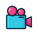 camera, entertaiment, expanded, filled, movie, old icon