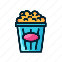 corn, entertaiment, filled, junk food, movie, popcorn icon