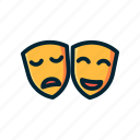 entertaiment, filled, funny, mask, sad, smile, theater icon