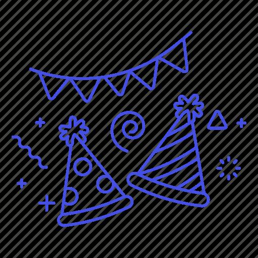 1, birthday, celebration, confetti, entertainment, festival, hat, new, party, s, year icon