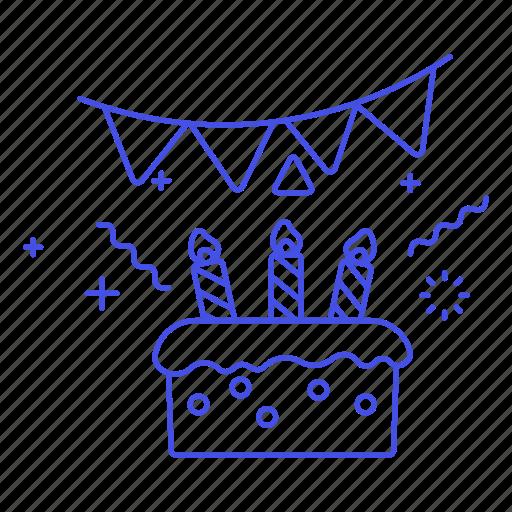 1, banner, birthday, cake, candle, celebration, entertainment, pennant, sweet icon