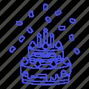 tier, birthday, confetti, candle, celebration, strawberry, entertainment, cake