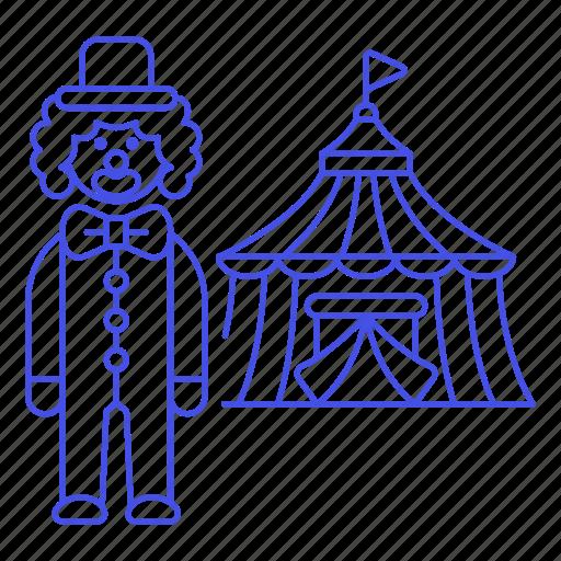 carnival, circus, clown, entertainment, event, fair, performer, show, tent, theatre icon