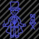 1, entertainment, magic, magician, male, performance, rabbit, show, trick, wizard icon
