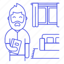 books, entertainment, home, living, male, ralex, reading, relaxing, room, time icon