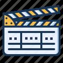 cinema, clapperboard, film, production icon