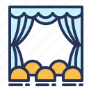 curtain, seat, theater, hall icon