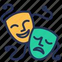 comedy, drama, mask, theater icon