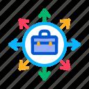 agreement, arrows, case, different, directions, entrepreneur, work