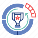 achievement, diagram, market, marketing, share, success, trophy icon