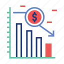 financial, graph, investment, market, stock, trading, underweight icon
