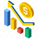 business, finance, growth, increase, isometric, market, success icon