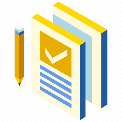 annual, business, contract, document, isometric, proposal, report icon