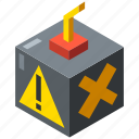 bomb, business, danger, fraud, isometric, risk, threat icon