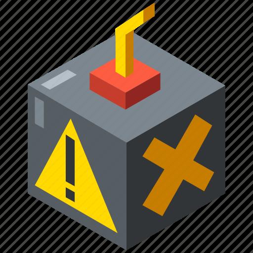 bomb, business, danger, fraud, isometric, risk, threat icon