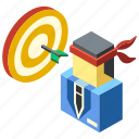achievement, ambition, determination, goal, isometric, success, target icon