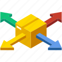 delivery, distribution, isometric, logistic, logistics, network, shipping icon