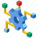 development, gear, innovation, invention, isometric, knowledge, management icon