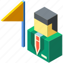 flag, isometric, leader, leadership, mission, motivation, opportunity icon