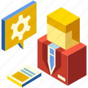 businessman, financial, gear, isometric, leader, management, manager icon