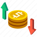 currency, finance, financial, fluctuation, isometric, loss, profit icon