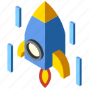 innovation, isometric, launch, rocket, science, spaceship, startup icon