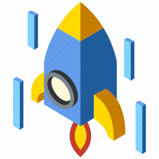 Innovation, isometric, launch, rocket, science, spaceship, startup icon - Download on Iconfinder