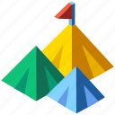 flag, isometric, mountain, mountain top, opportunity, peak, success icon