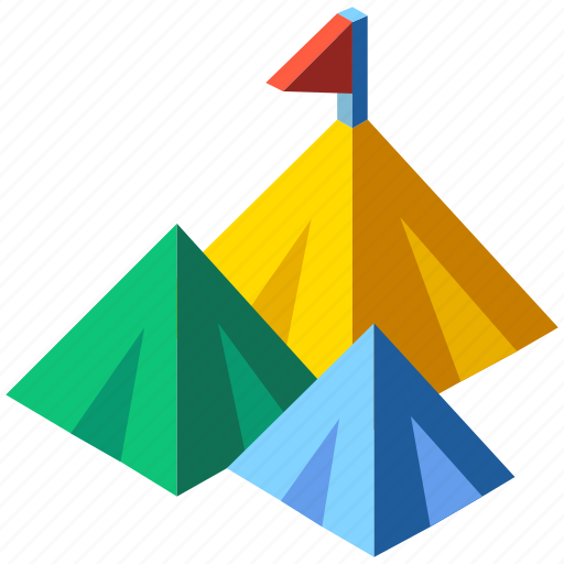 Flag, isometric, mountain, mountain top, opportunity, peak, success icon - Download on Iconfinder