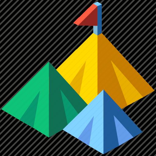 flag, isometric, mountain, mountain top, opportunity, peak, success icon