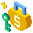 credit, insurance, isometric, risk, safety, term, trade icon