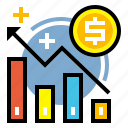 business, finance, graph, growth, increase, market, success icon