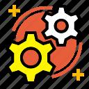 development, gear, innovation, invention, knowledge, management icon
