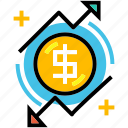 currency, finance, financial, fluctuation, loss, profit icon